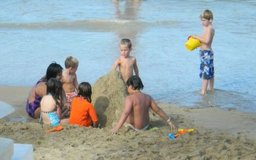 The kids love to build sand castles on VIP Beach.