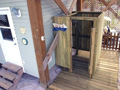 Outdoor shower is very private and great for you or your pet.