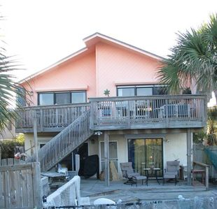 #1 Beach house- lots of outside area to view and enjoy the beach and sunshine.