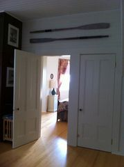 Woods Hole house photo - Entry into downstairs bedroom with full bath and queen bed.