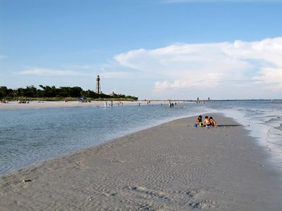 Sanibel's famous beaches with nearby Lighthouse