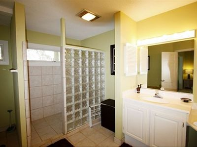 Large master bath with extra large tub and walk in shower