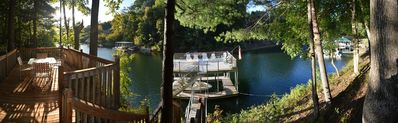 Panoramic view of our cove and picnic deck