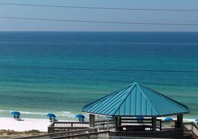View from the balcony of the Gulf and the beach