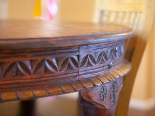 Austin apartment photo - hand-carved kitchen table from India with handmade chairs imported from Mexico.