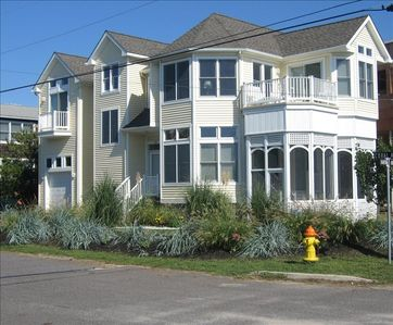 Facing beach. Ocean views. . Ocean only steps away.  Screened porch and Deck