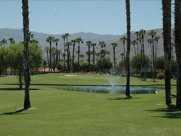 Palm Desert condo rental - View from Patio of Double Wide Fairway and Local Mountain Range