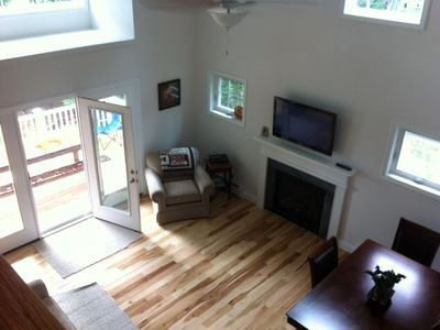 View of the living area from the second floor.
