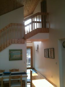 Harrisville house rental - View of stairs from family room