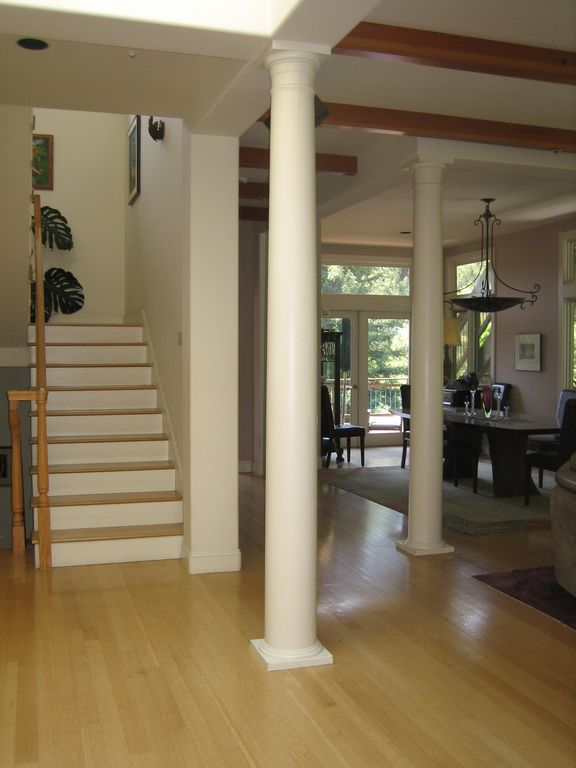 From foyer towards dining area and upstairs bedrooms.