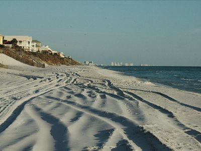 Enjoy the unspoiled sugar  white sand beaches just outside your door