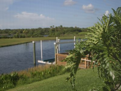 Lovely backyard and boat dock with access to the Manatee River