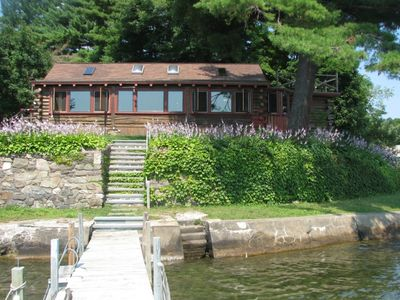Log Cabin from dock on Lake