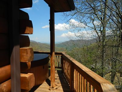 WOW! You can see forever from this log home in Maggie Valley