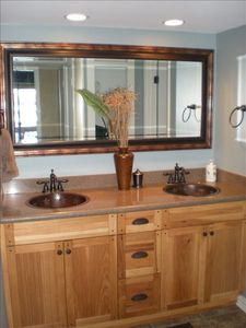 The Master Bath with Handmade Copper Sinks
