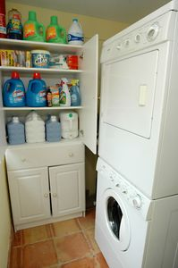 Washer & Dryer room and we provide all of the detergents and dryer sheets!