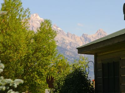 view of the Grand Teton from deck