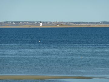 Straight-on views of Long Point, lighthouse, and Truro bluffs in the distance