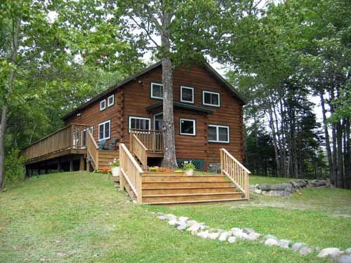 Harper 39 S Acadia Lodge Upscale Log Cabin On Secluded Pond