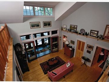Bird's eye view of the main floor from top level