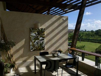 La Romana condo rental - Breakfast is served- Morning sun and shadows at play on the over sized terrace