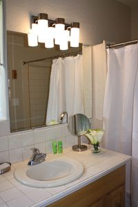 Monterey house rental - Master bathroom, with bathtub