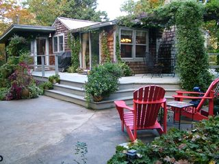Cape Elizabeth cottage photo - Patio with dining area covered trellis...