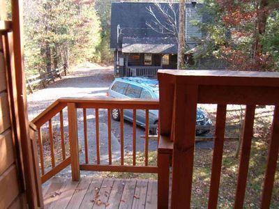 As seen from Grace the cabin which shares the parking area in this private cabin