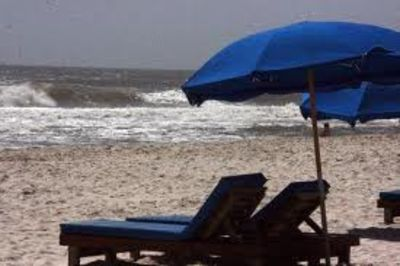 Lounge chairs and umbrellas are available for rent on the beach