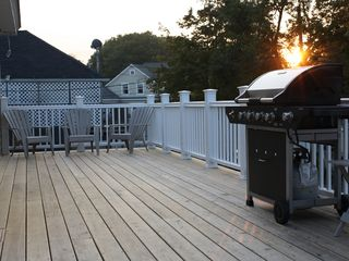 York Beach apartment photo - Enjoy the Gas Grill overlooking a quiet and peaceful Campground