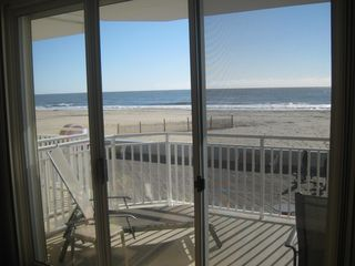 Oceans Mist Ocean City condo photo - View from Living Room of Balcony, Bardwalk, Beach, Ocean