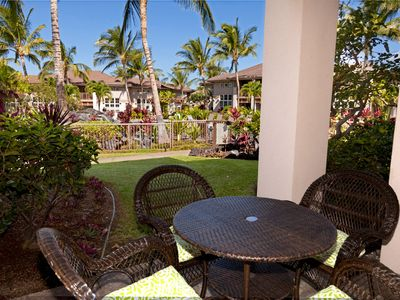 Enjoy dining or drinks on the outside lanai
