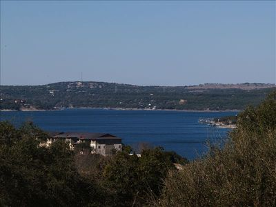 The view of Lake Travis from the Living Room Deck.  It says 'Welcome'