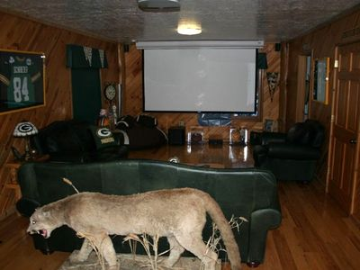 Theater room with DirecTV/projection screen & surround sound