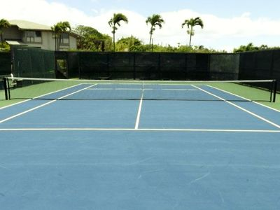 Newly refinished tennis court.