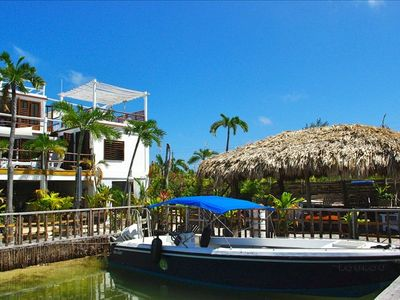 Ground floor Palapa & Bamboo House Boat as seen from Lagoon