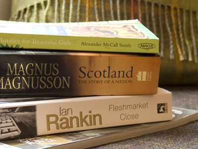 Shelves stocked with Scottish authors