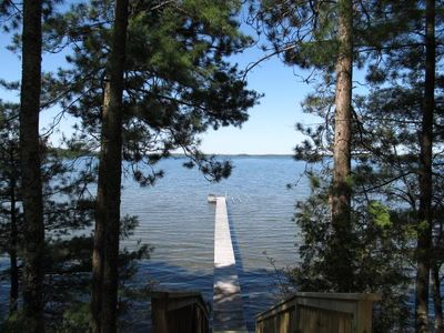 Your view from the top of the stairs. Big lake views, private dock, free canoe