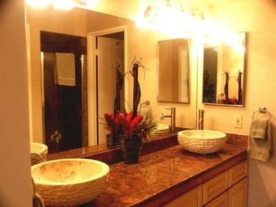 New granite countertops and new vessel sinks