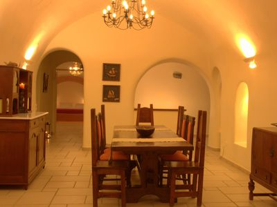 Main canava dinning area with master and second bedroom carved into the rock