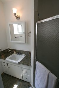 Hermosa Beach house rental - Master bathroom with shower.