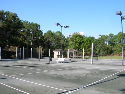 2 Lighted Har-Tru tennis courts