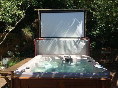 Outdoor Salt Water Hottub with 85' Movie Theater and Fire Pit (off screen)