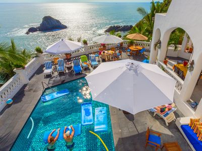 Palace Pool, Deck, Jacuzzi and the Pacific