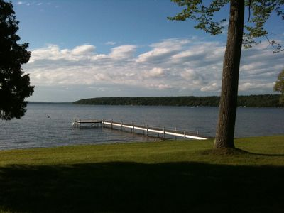 View of the dock and Scott's Bay/ Mullett Lake