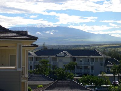 Mauna Kea with snow on top from 3rd floor stairway.