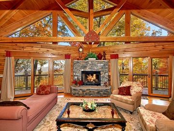 Maggie Valley lodge rental - Great Room with Stone Fireplace and Wraparound Deck, Upscale Furnishings
