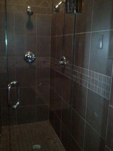 master bathroom, glass walk-in double headed huge shower...