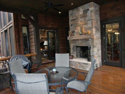 Relax on the fireside covered porch w/the  sites and sounds of rushing waters