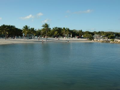 Harry Harris Park: beach for family and children, boat ramp for Dad.